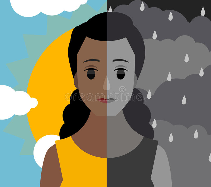Bipolar double personality mental disorder african girl woman cloudy and shiny sky royalty free illustration
