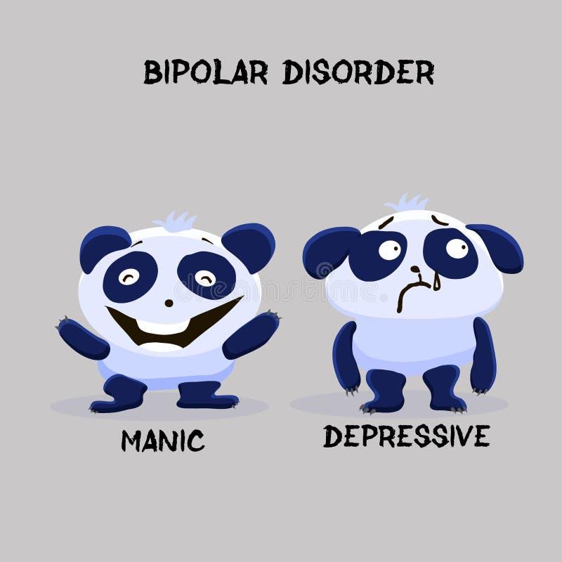 Bipolar double personality mental disorder panda. Mental health. Problem. Vector illustration for websites, brochures, magazines. Cartoon, flat. Medicine vector illustration