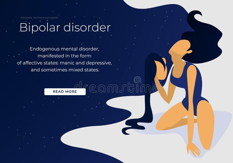 Bipolar Mental Health and Brain Medical Disorder. Bipolar Mental Health and Brain Disorder. Woman Hold her Second Own Head in Hand. Neurological and Emotion stock illustration
