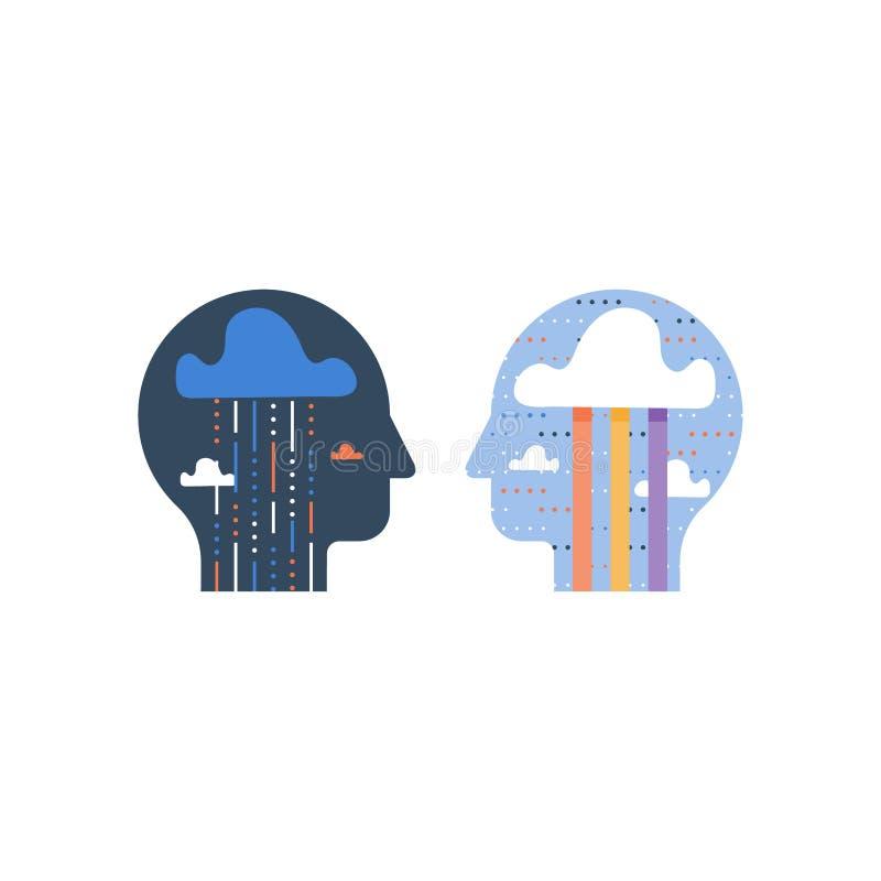 Bipolare Störung, Druckauslöser, Psychotherapiekonzept, psychische Gesundheit, positives und negatives Denken, schräg und Kommuni vektor abbildung