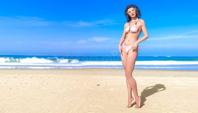biquini amarelo sol-bronzeado bonito do roupa de banho da mulher 3D na praia do mar ilustração royalty free