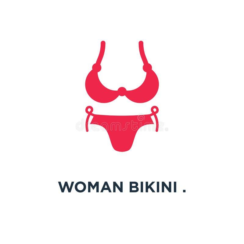 Biquini da mulher ícone do projeto da forma da roupa interior conceito do roupa de banho sy ilustração do vetor