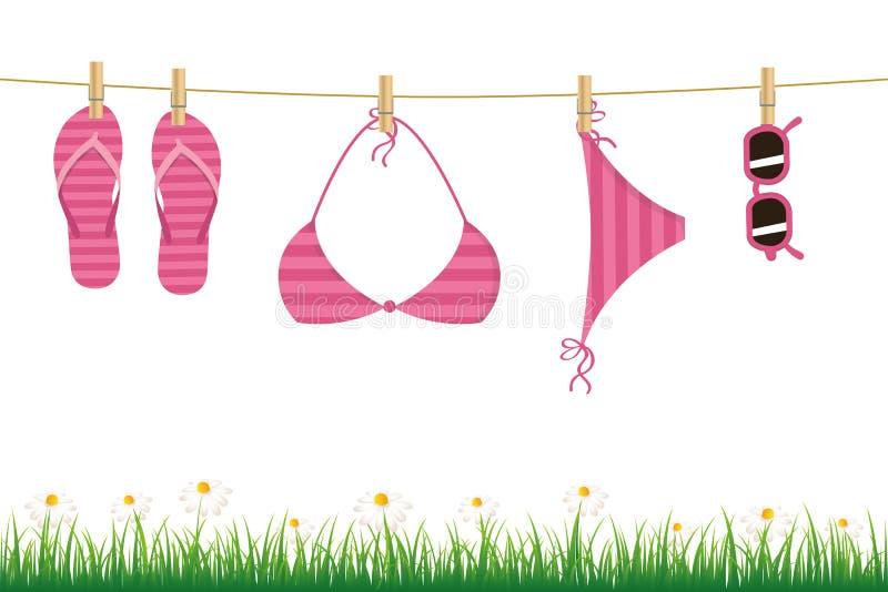 Biquini e óculos de sol de suspensão cor-de-rosa do falhanço de aleta em uma flor e em uma grama da margarida da corda no fundo b ilustração royalty free