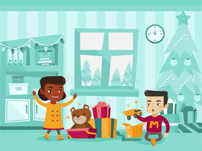 Biracial ungar som öppnar julklappar stock illustrationer