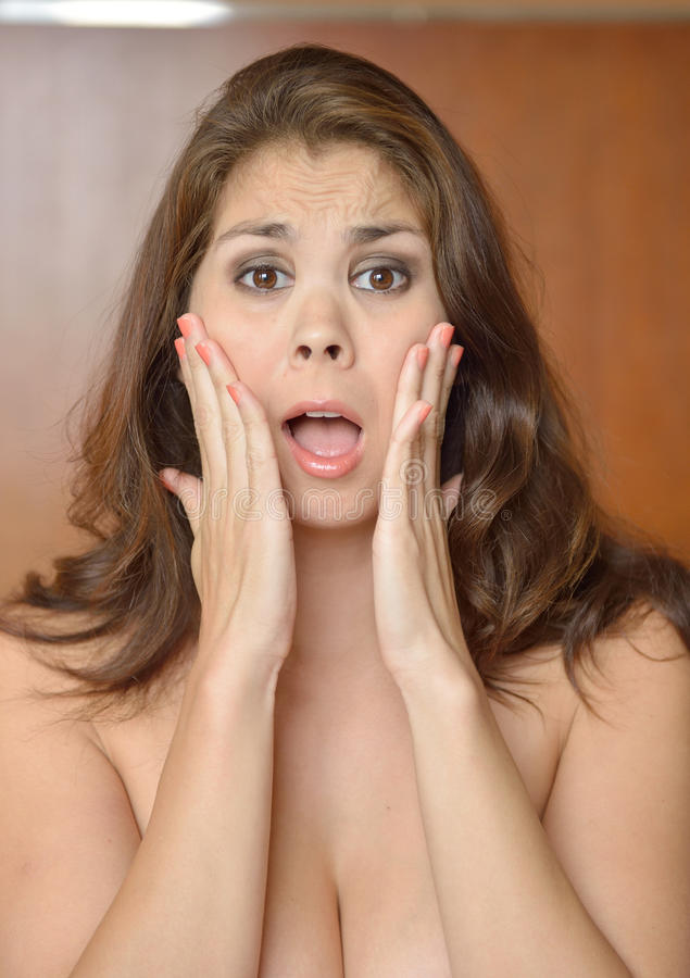 Biracial woman expression series - shocked royalty free stock photo