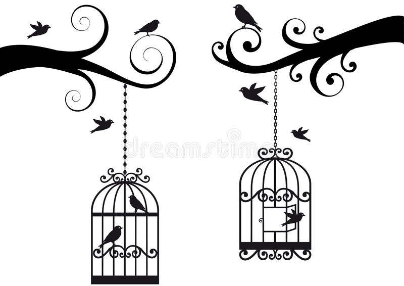 Bircage en vogels,   stock illustratie