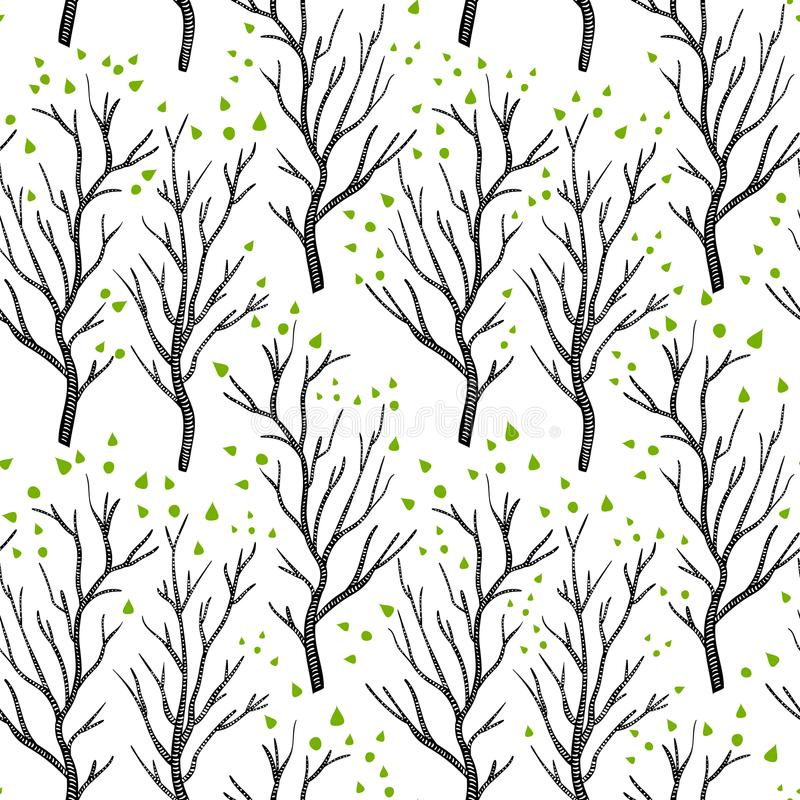 Birch or aspen brown trees in spring with small green leaves on white seamless pattern, vector. Background vector illustration