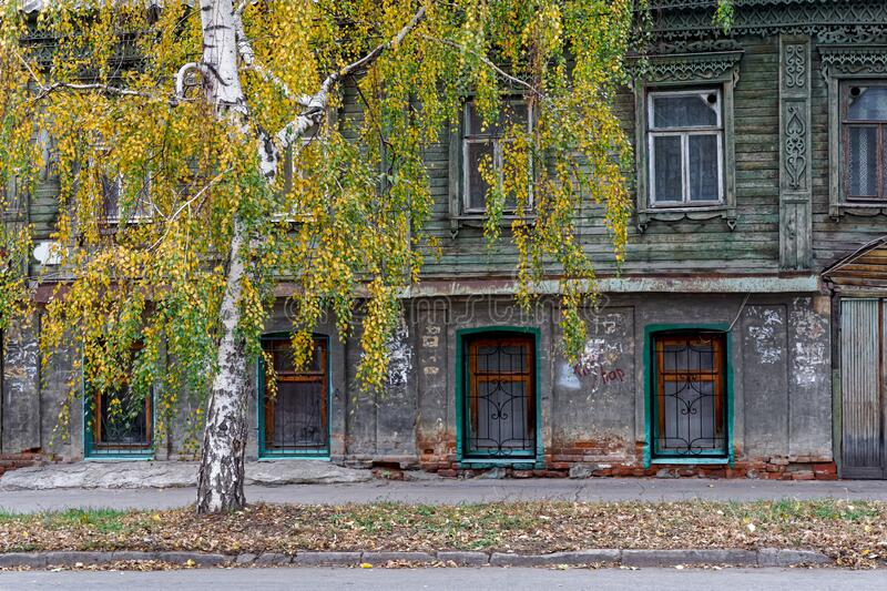 Birch on the background of an old house. Autumn street of the old Russian city with a yellowing birch on the background of an old house stock photography