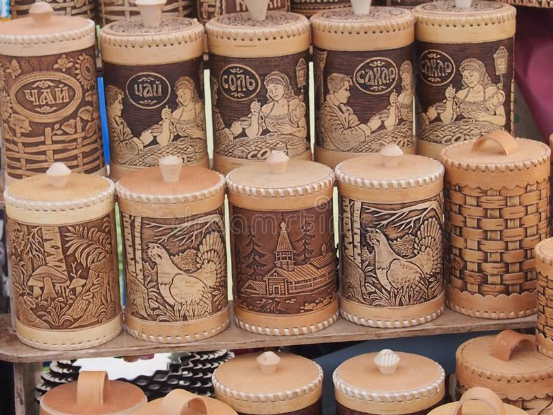 Birch bark ware. With a cover for storage of grain and loose products royalty free stock images
