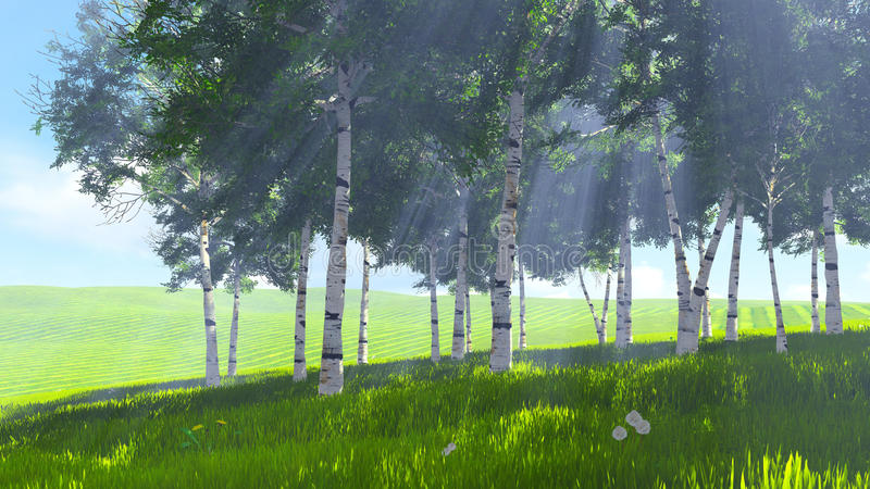 Birch grove edge in spring 1. Beautiful spring scene. Sunny day on the edge of the birch grove. Realistic 3D illustration was done from my own 3D rendering file stock illustration