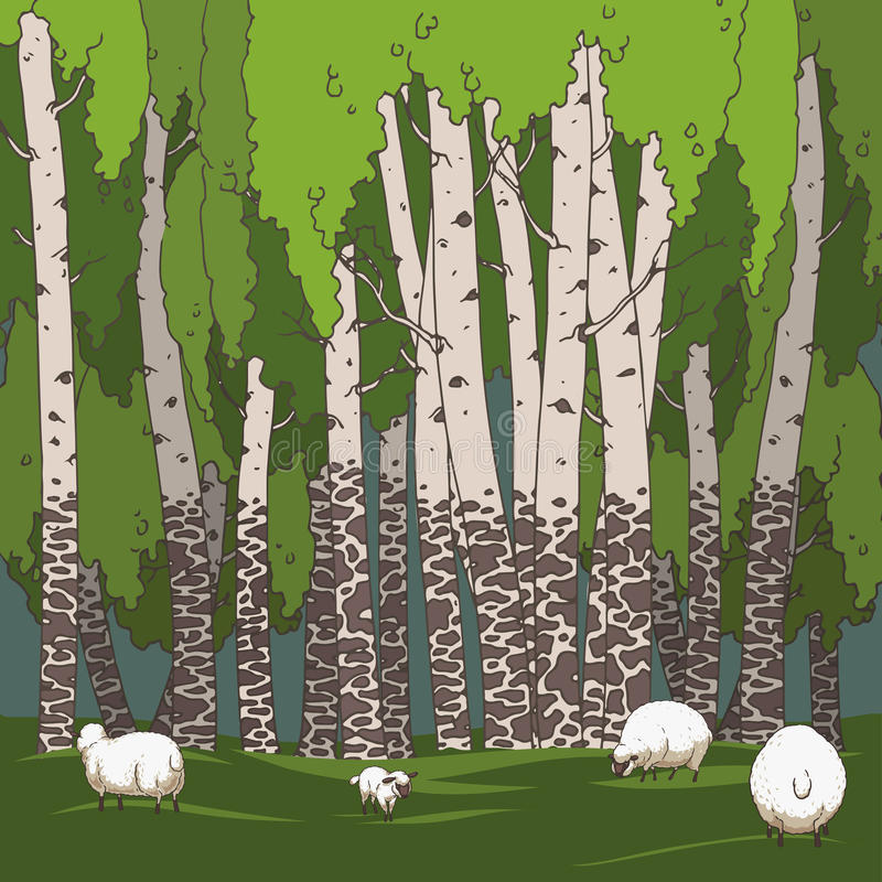Birch grove and sheeps. Hand drawn illustration. Ukraine royalty free illustration