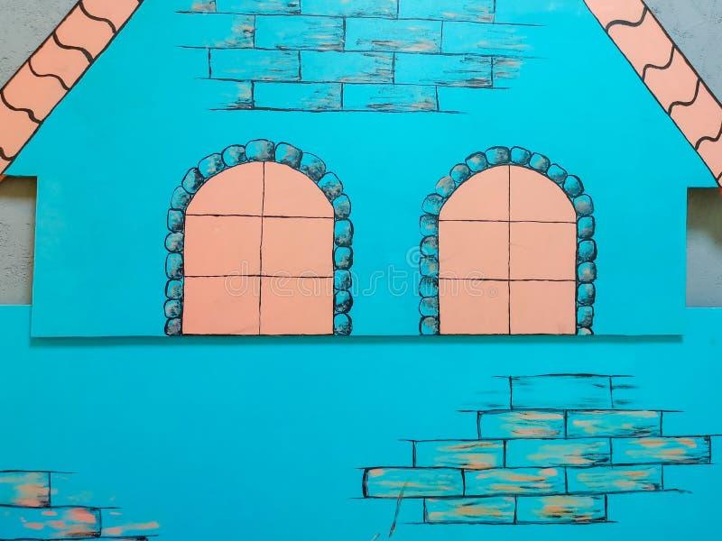 Birch House, orange house, cartoon beautiful house.  stock images