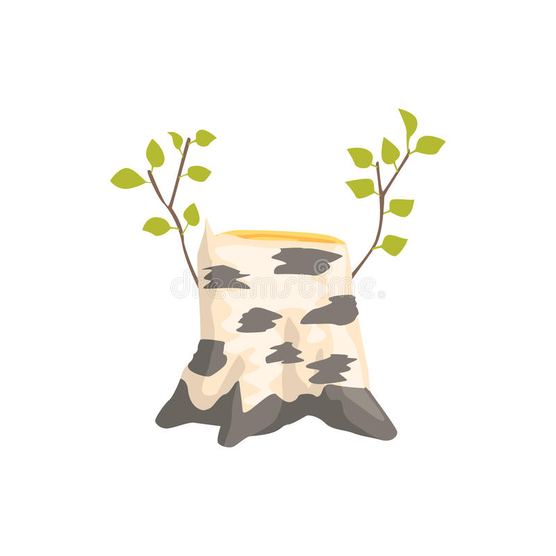 Birch Tree Stump With The Fresh Growth Isolated Element Of Forest Landscape Design For The Flash Game Landscaping stock illustration