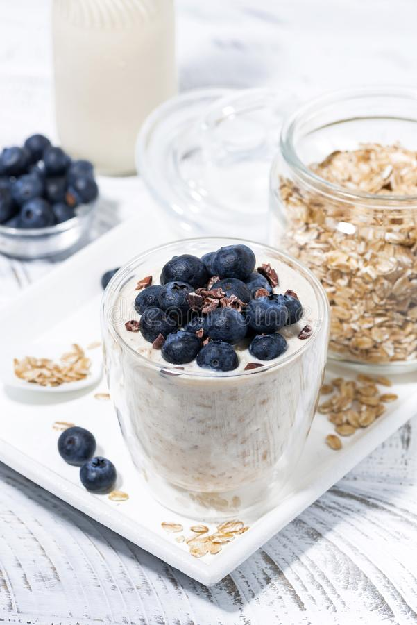 Bircher muesli with fresh blueberries in a glass royalty free stock photography