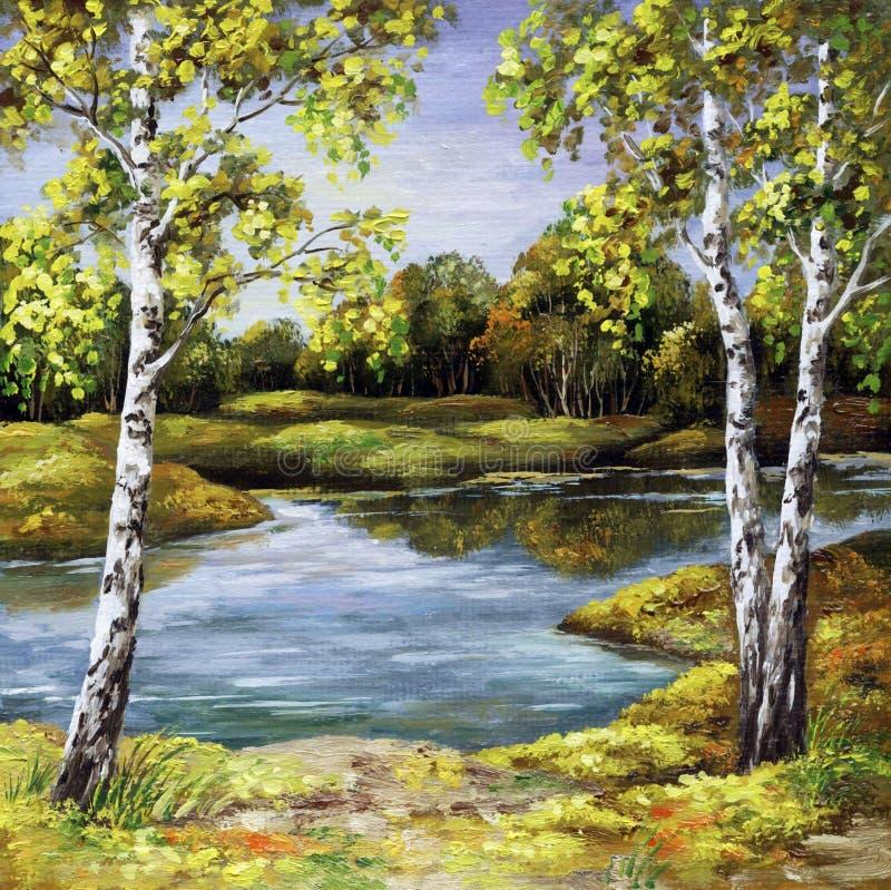 Birches on coast, autumn stock image