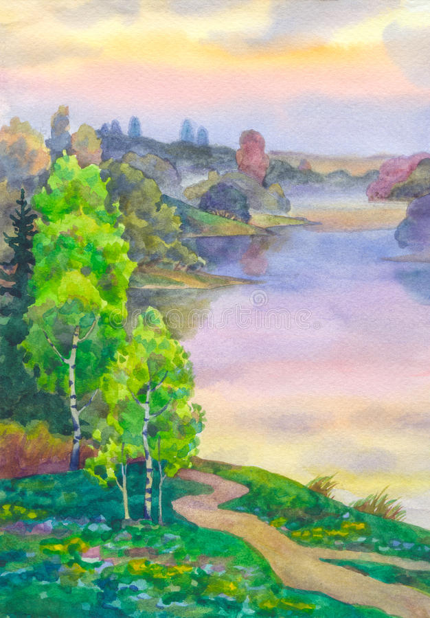 Birches near lake vector illustration