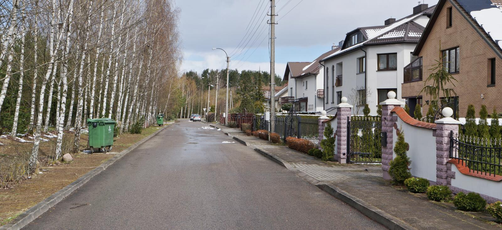 Birches trees and green trash cans near modern rural houses stock image