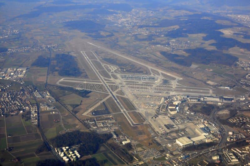 Bird's eye view of zurich airport stock photo