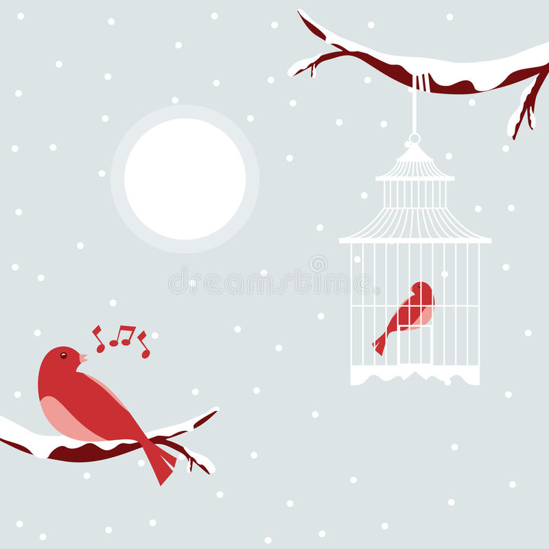 Bird. Happy New Year Christmas and love birds stock illustration