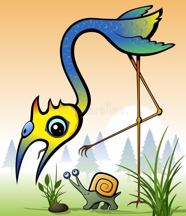 Download Bird stock vector. Image of animals, bird, plants, snail - 28354811