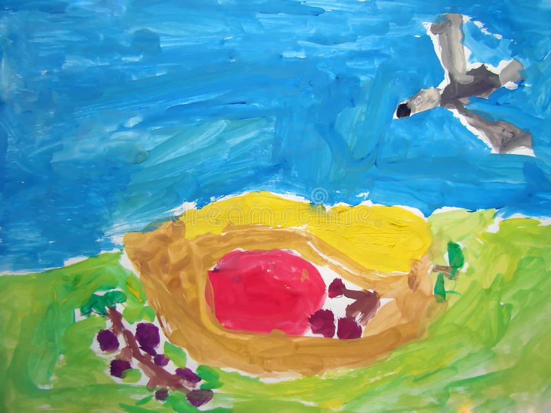 Bird above the nest - painted by child royalty free stock images