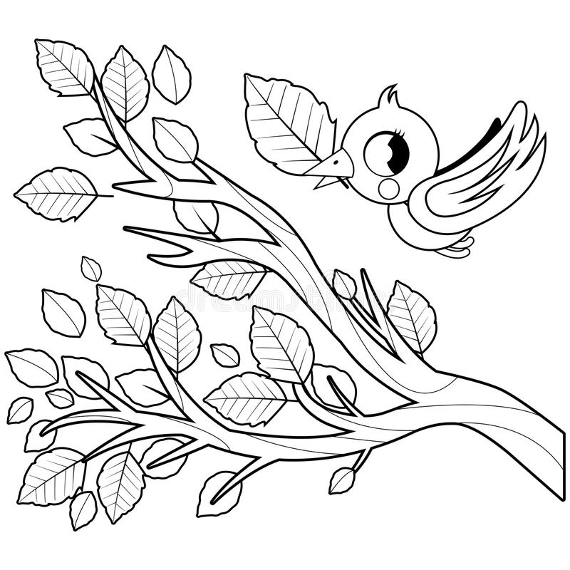 Bird in Autumn flying and tree branch with dry leaves. Black and white coloring book page vector illustration