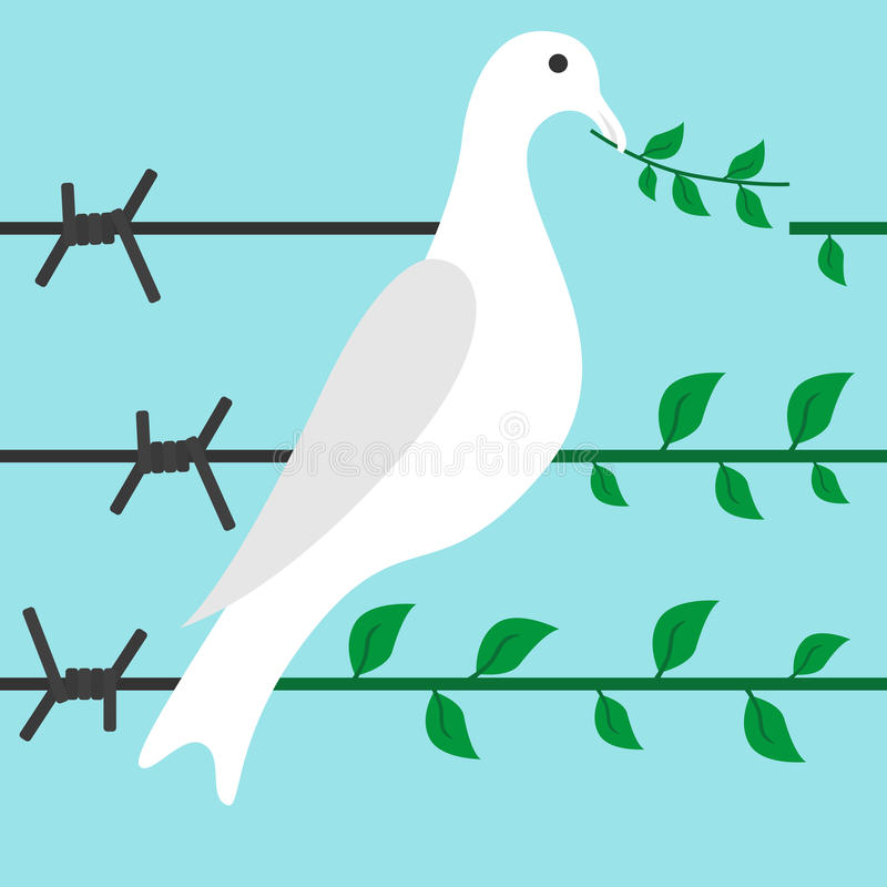Bird on barbed wire. Bird turns barbed wire in branch on blue background. Diplomacy, hope, optimism and freedom concept. Flat design. Vector illustration. EPS 8 vector illustration