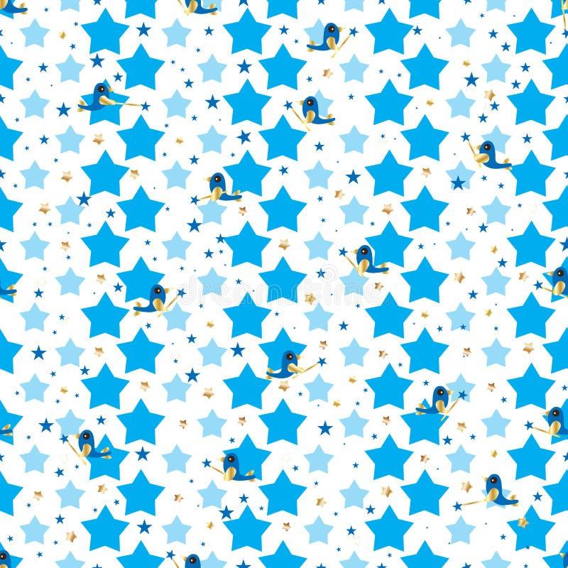 Download Bird Blue Cute Star Fly Seamless Pattern Stock Vector