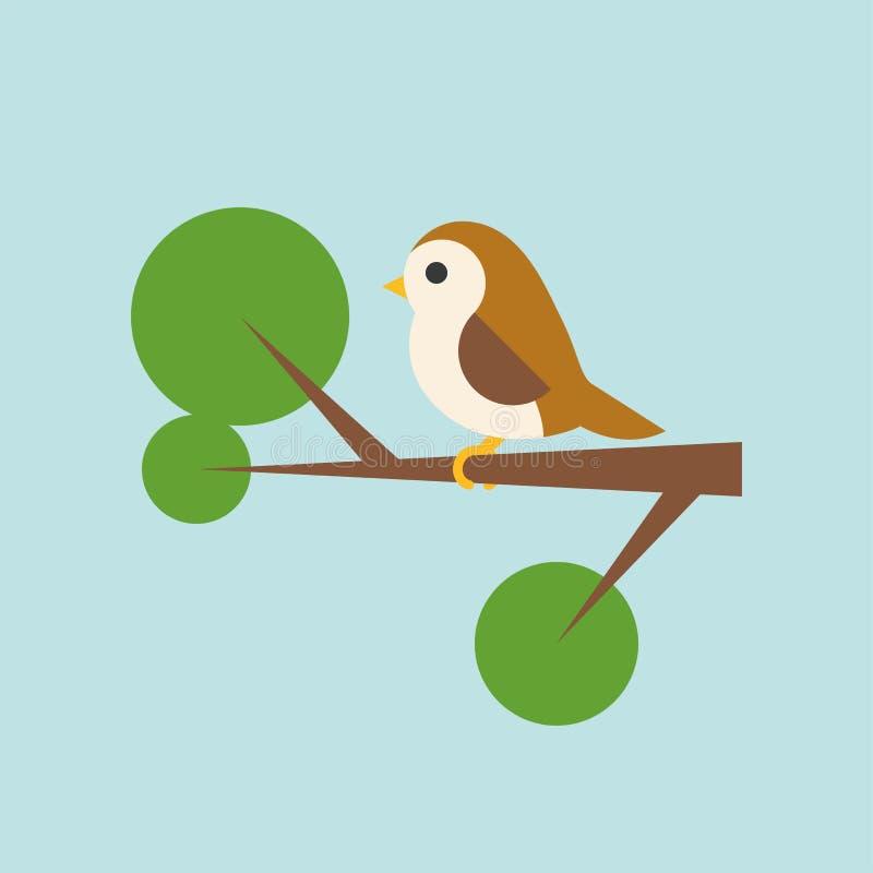 Bird on branch icon. In flat design stock illustration