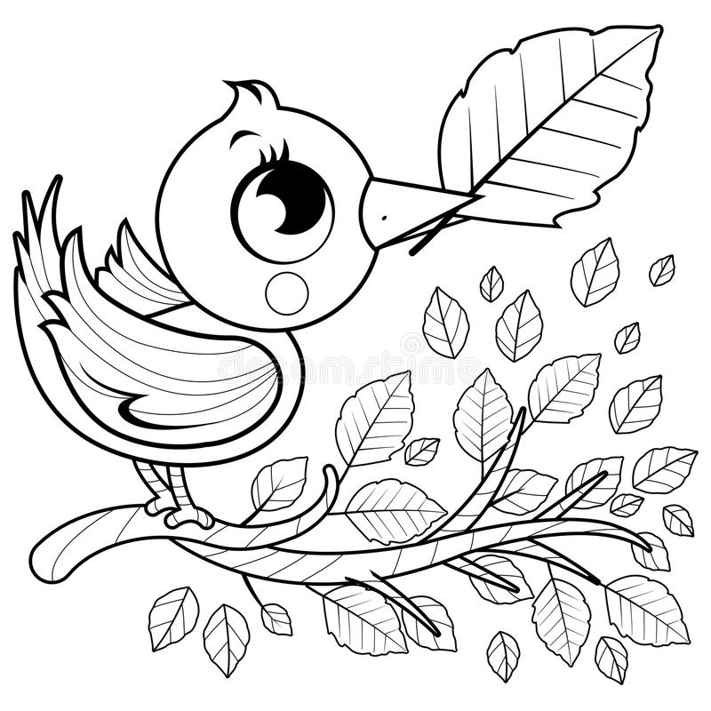 Bird on a branch with leaves royalty free illustration