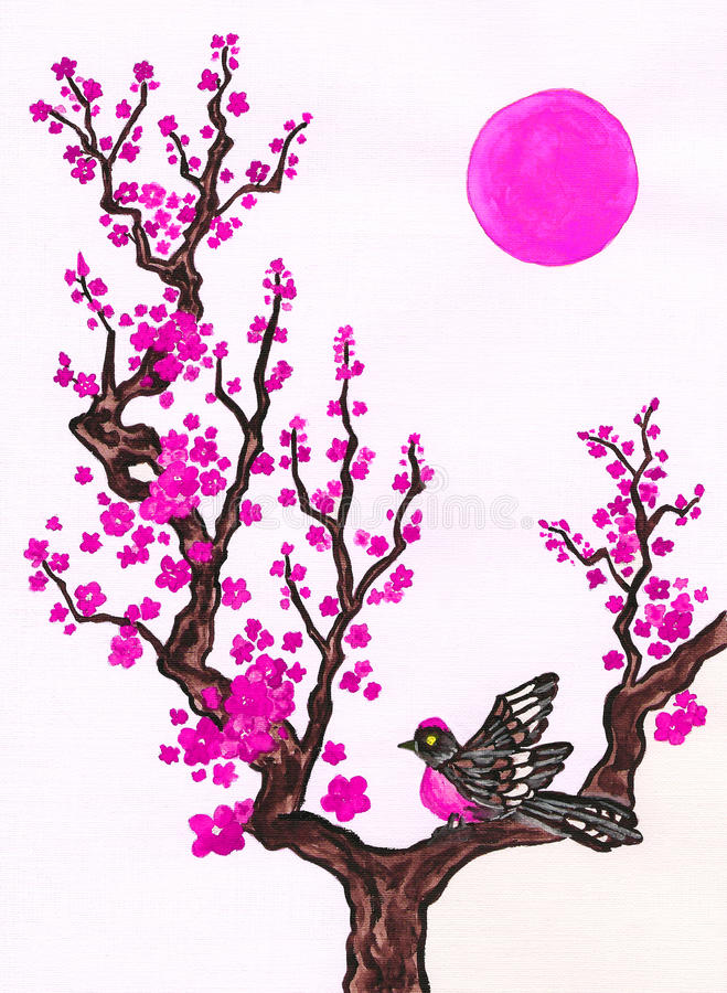 Bird on branch with pink flowers, painting royalty free illustration