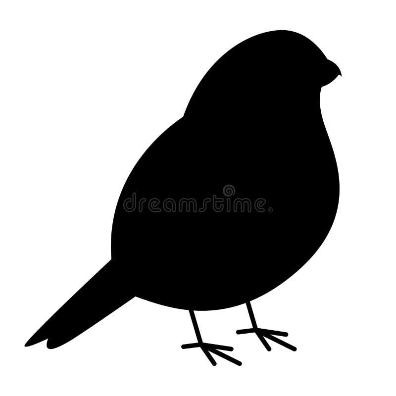 Bird bullfinch vector illustration black silhouette profile. Side stock illustration