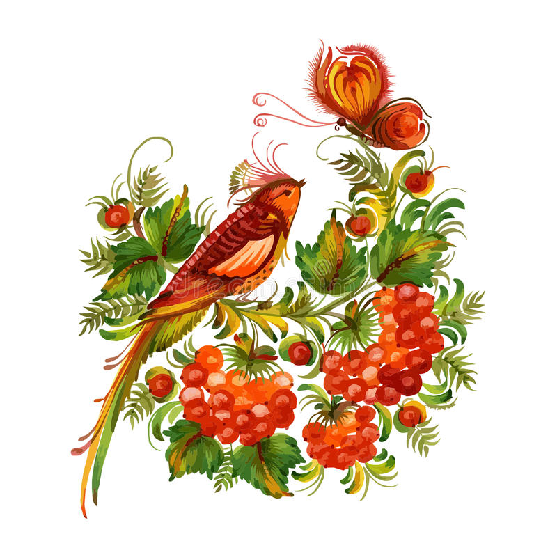 Bird and butterfly on the flowers vector vector illustration