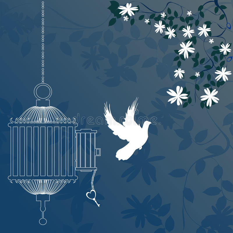 Bird and cage. With cherry blossom tree