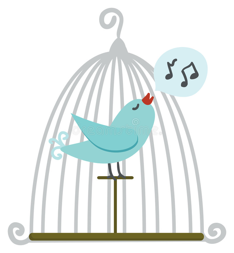 Bird in cage royalty free illustration