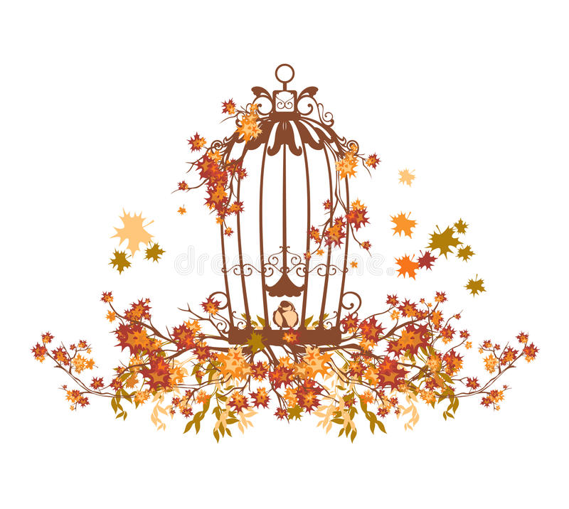 Bird cage among autumn tree branches vector royalty free illustration