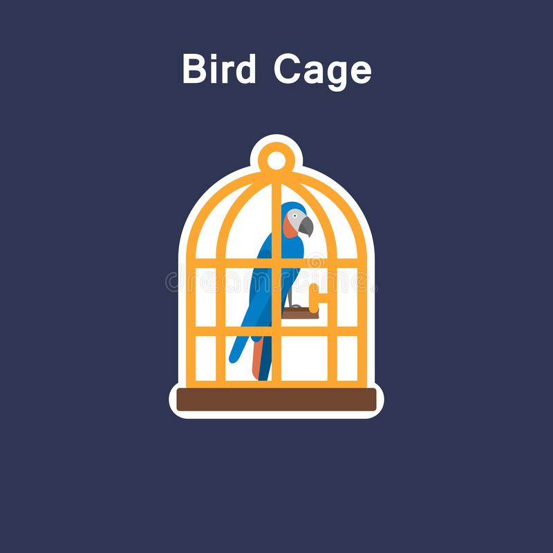 Bird cage flat icon sticker stock illustration
