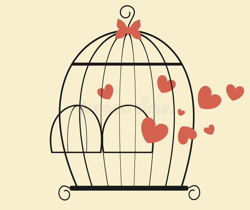 Bird cage with hearts valentine's day romantic illustration vector illustration