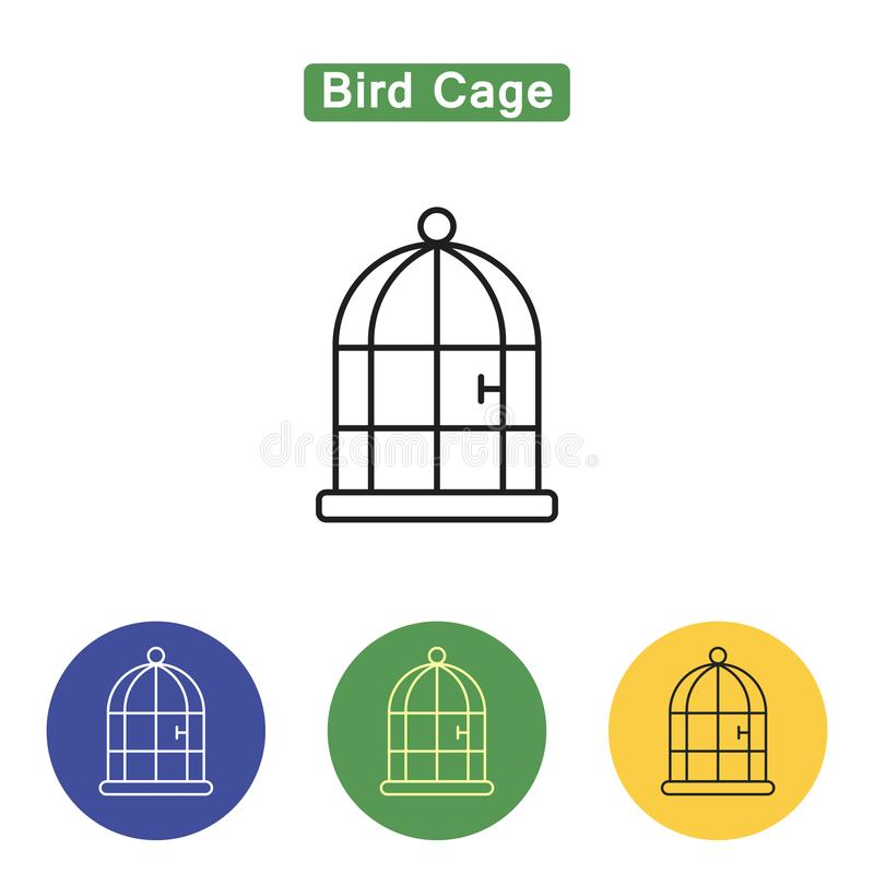 Bird cage line icon royalty free illustration