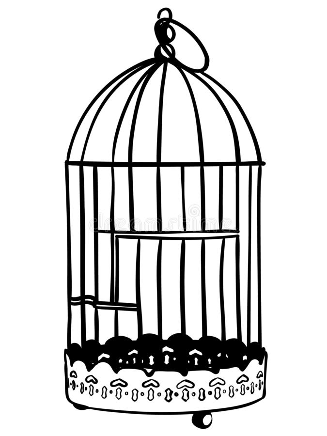 Bird cage vector eps Hand drawn Crafteroks svg free, free svg file, eps, dxf, vector, logo, silhouette, icon, instant download, di. Bird cage vector eps, Hand royalty free illustration