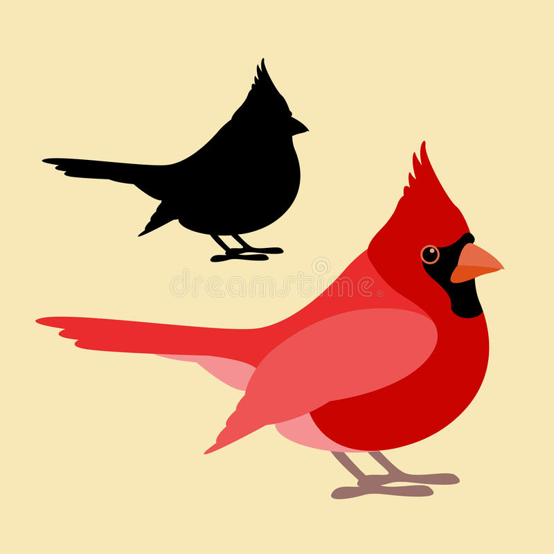 Bird cardinal vector illustration style Flat side. Silhouette royalty free illustration