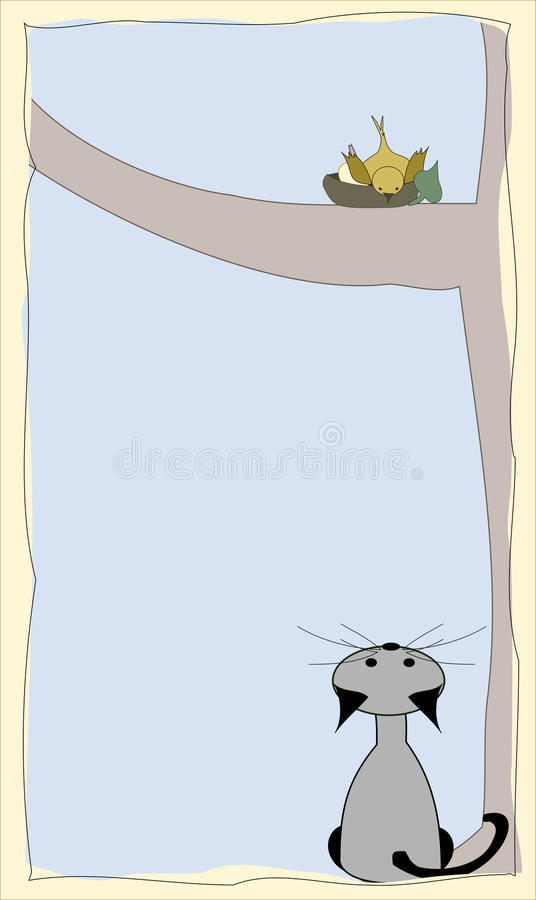 Download Bird and cat stock vector. Image of part, mammal, fashion - 20249075