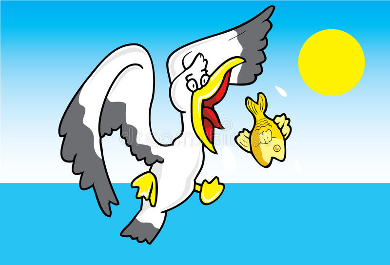 Bird catch a fish. In the sea stock illustration