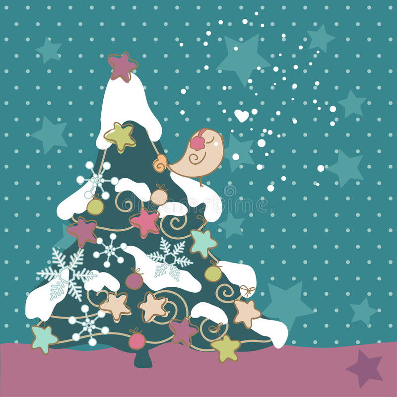 Bird On Christmas Tree Royalty Free Stock Photo