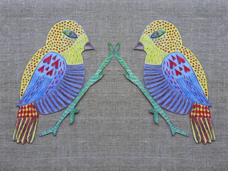 Bird colored on paper on linen background royalty free stock images