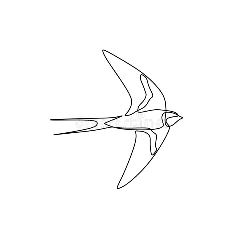 Bird continuous line drawing vector illustration minimalist design good for logo branding and abstract minimalism poster. Bird one line drawing continuous royalty free illustration