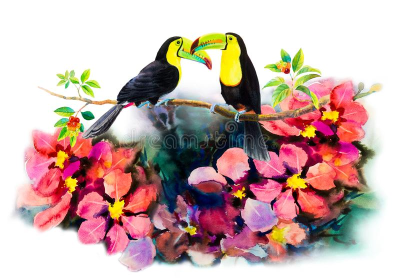 Bird couple on cherry branches and flower watercolor painting vector illustration