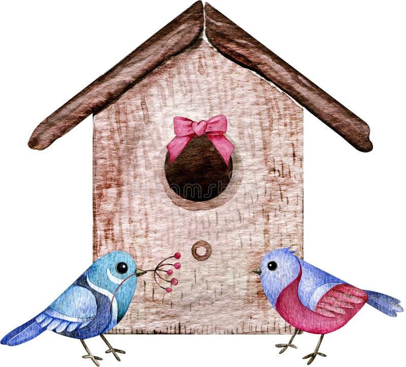 Bird couple with the house. Watercolor illustration of bird love, family. Cartoon style vector illustration