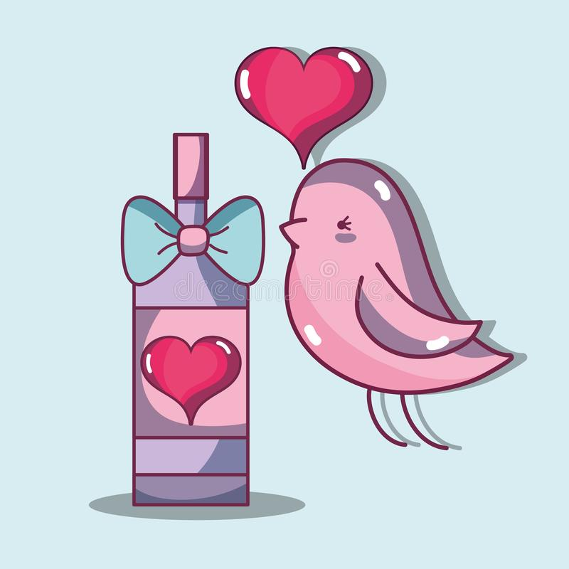 Bird dove lover with heart and champagne royalty free illustration