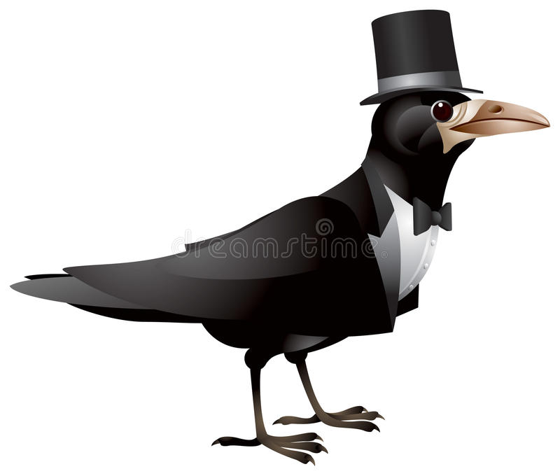 Bird Dressed In Black Tie And Top Hat Stock Photos